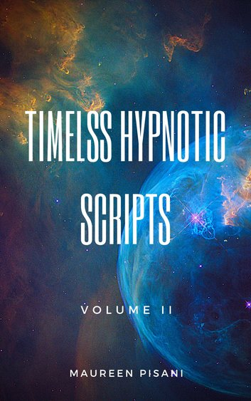 book cover image shows universe, hypnosis scripts
